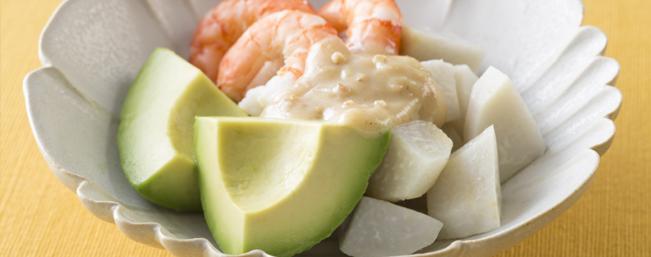アボカド、里芋、茹でえびの酢味噌がけ