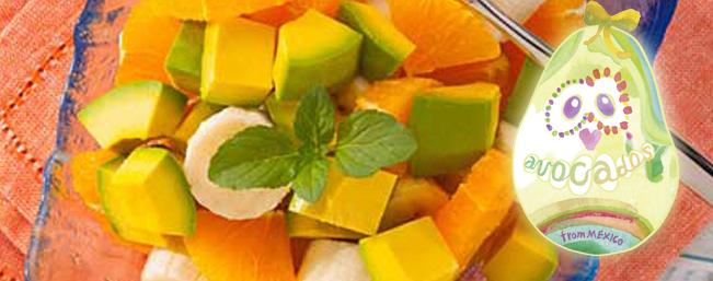 アボカド・バナナ・オレンジのフルーツ・ボール