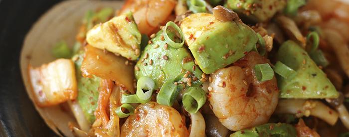 海老アボカドキムチの中華炒め